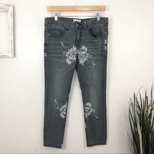 Free People Gray Floral Cropped Skinny Jeans